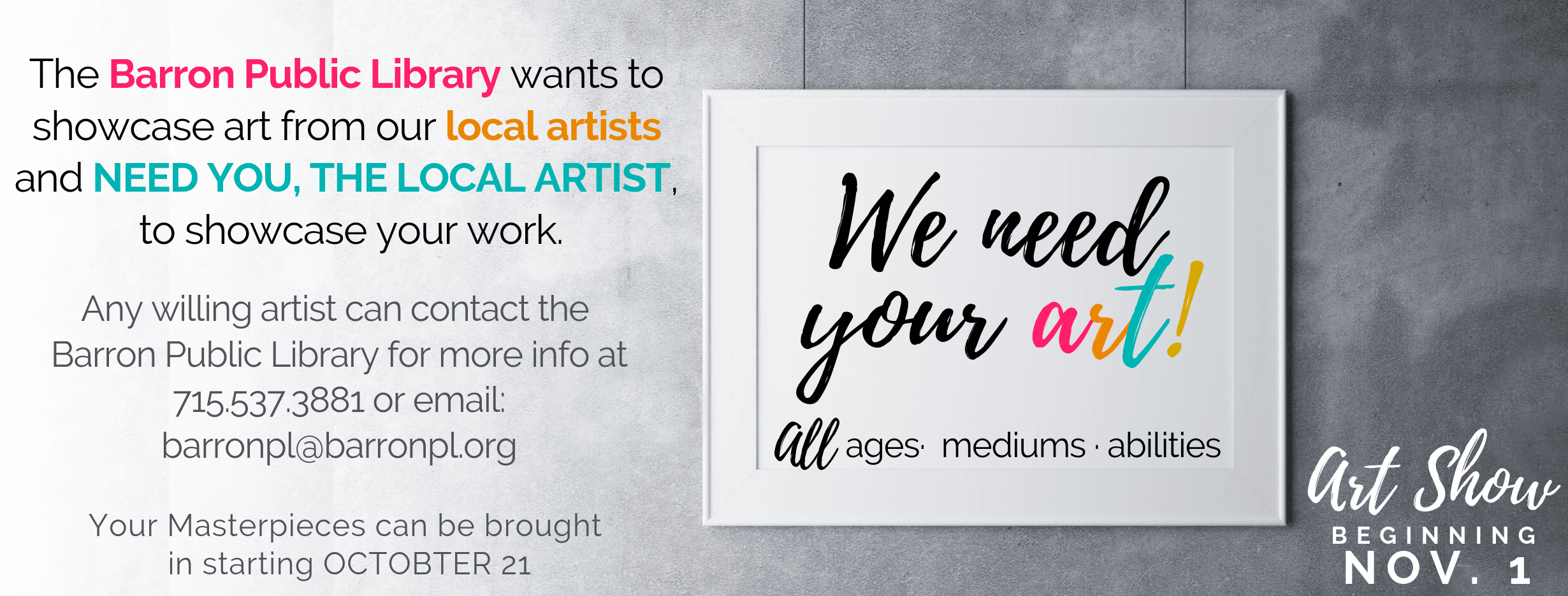 We need your art